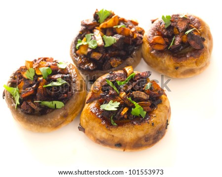 close up of freshly sauteed button mushrooms