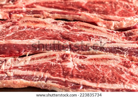 Close up of freshly sliced Korean style short ribs beef - stock photo