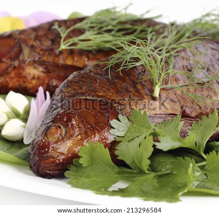 close up of freshly smoked fish - stock photo