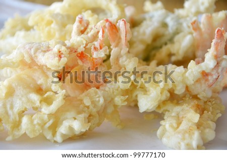 close-up of fried Shrimps , Tempura Japanese cuisine - stock photo