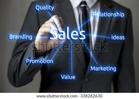 Close-up of front faced businessman is writing on the board (focus on hand, blur out the suit). It can be used for layout in business-related words and objects.
