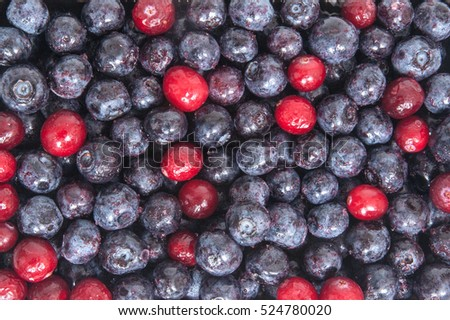 Close up of frozen mixed fruit - blueberries and cranberries an