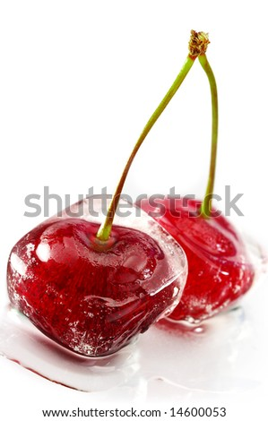 Close-up of frozen sweet cherry on white - stock photo
