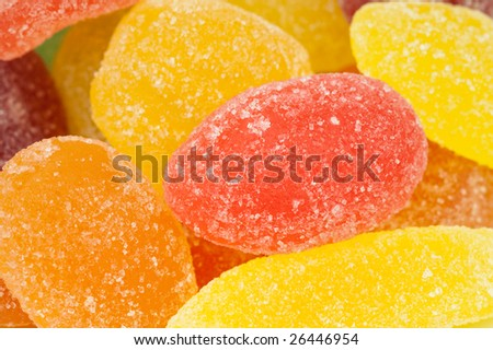 close-up of fruit candy in many colors