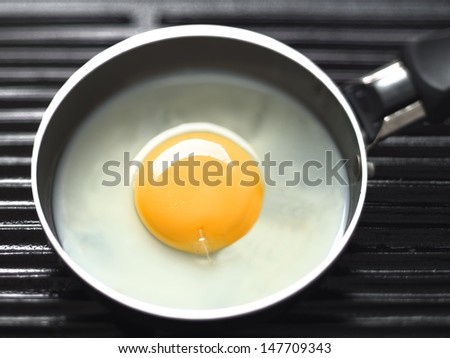 close up of frying egg in a mini pan