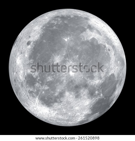 Close up of full moon isolated on black background - stock photo