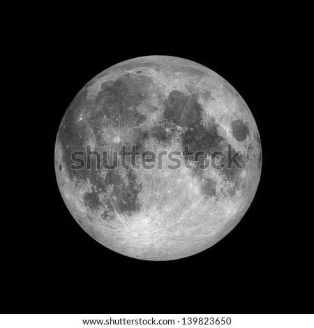 Close up of Full moon, lunar on dark night sky, black space, black background - stock photo