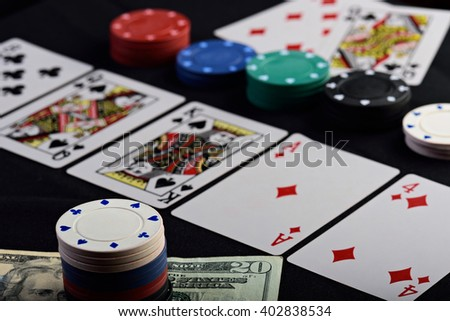 close up of gamble bet in holdem poker - stock photo