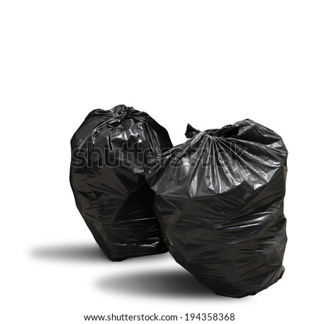 Close up of garbage bag on white background with clipping path - stock photo