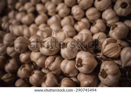 close up of garlic sold on market  background - stock photo