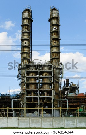 Close-up of gas refinery pipes - stock photo