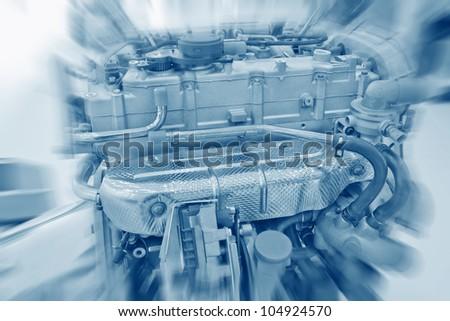 Close up of gasoline car engine - stock photo