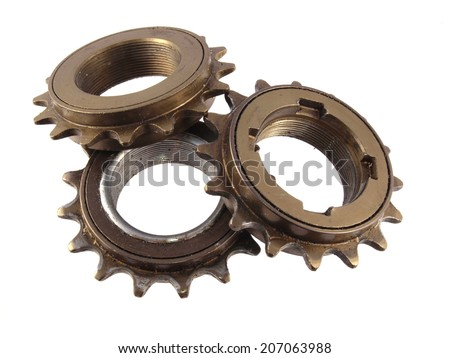 Close up of gear wheels and cogs, - stock photo