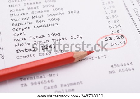 Close-up Of Generic Receipt With Total And Red Marking - stock photo