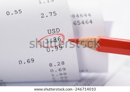 Close-up Of Generic Rolled Up Receipt With Costs And Red Marking - stock photo