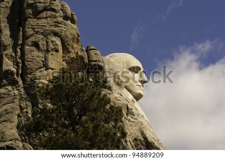 Close up of George Washington on Mount Rushmore