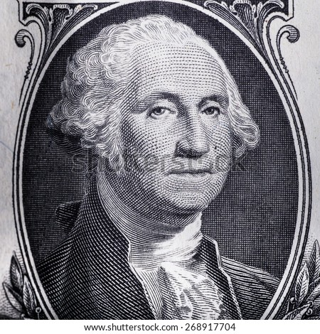 Close-up of George Washington on US one dollar bill
