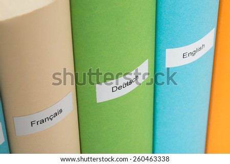 Close-up Of German; English And French Language Books - stock photo