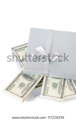Close-up of gift box with one hundred dollar bills, white background
