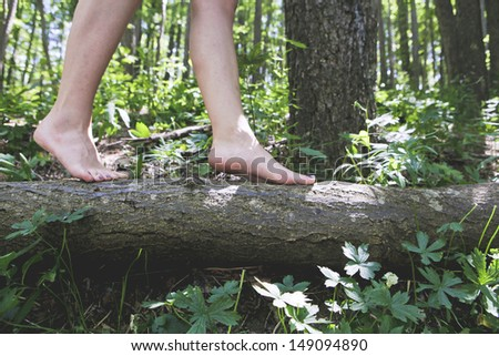 Close up of girl bare feet walking on a tree trunk