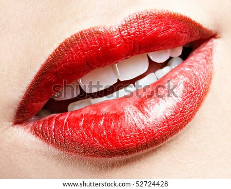 close up of girl's lips zone make up - stock photo