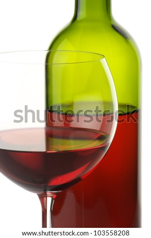 Close-up of glass and bottle of red wine on white background. - stock photo