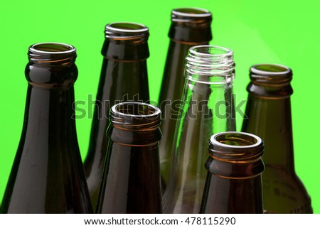 Close up of glass bottles.