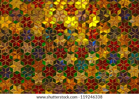 Close up of glass mosaic in gold, green and red colors. - stock photo