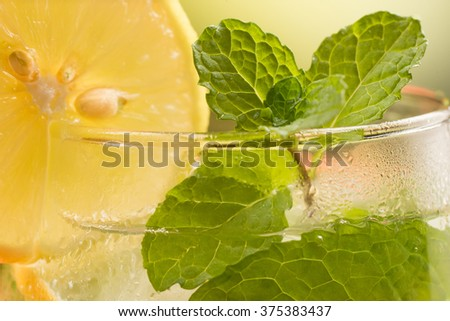 Close up of glass of spritzer with lime and mint leaves