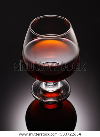 Close-up of glass with cognac