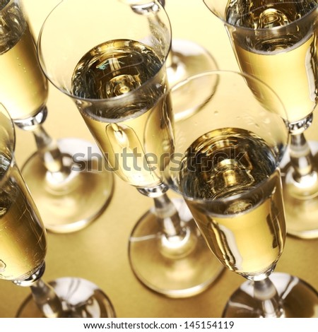 Close-up of glasses with sparkling wine