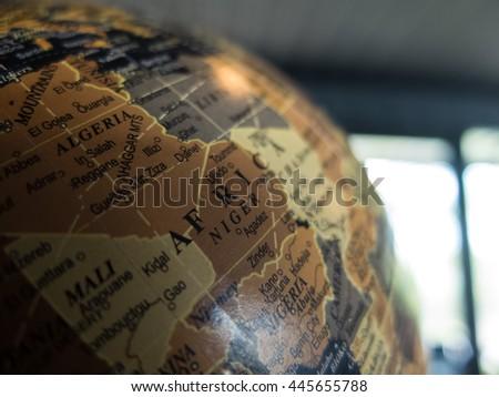 Close up of Globe. selective focus. - stock photo