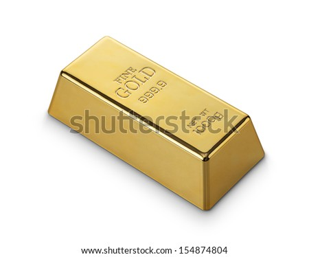 Close up of gold bar isolated on white background