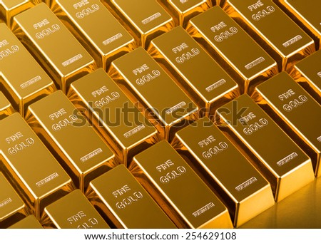 close up of Gold Bars - stock photo