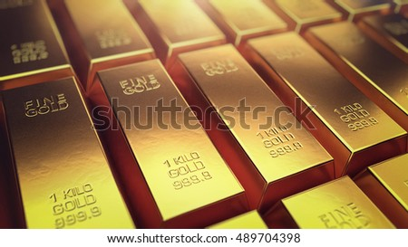 Close up of gold Bars. Gold bars and Financial concept, 3D render.