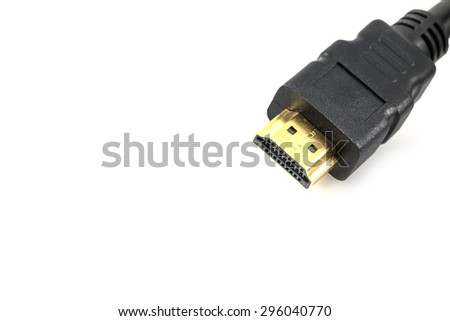 Close up of Gold HDMI cable isolated on white background