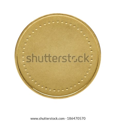 Close up of golden coin isolated on white background - stock photo