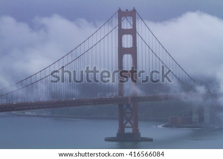 Close up of Golden Gate Bridge in San Francisco California on foggy morning