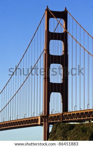 Close up of golden gate pylon - stock photo