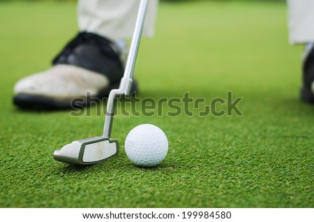 close up of golf ball - stock photo