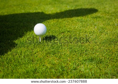Close up of golf ball on tee. Sunny day - stock photo