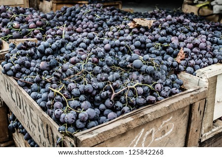 Close up of grapes on market stand in Chile - stock photo
