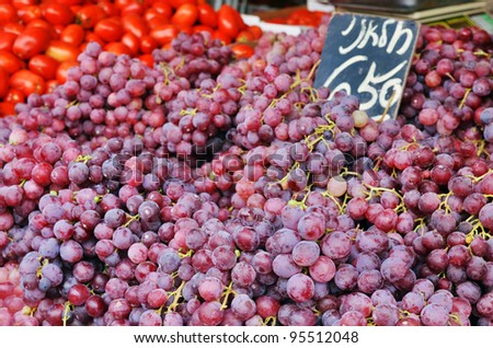 Close up of grapes on market stand in Jerusalem, Israel - stock photo