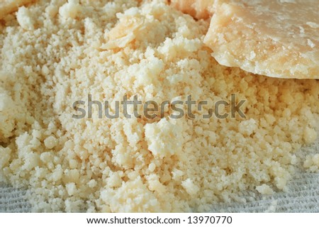 Close-up of grated Parmesan cheese