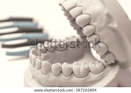 Close up of gray clay human gums model with row of dentistry tools in background - stock photo