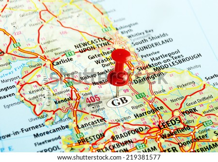 Close up of  Great Britain  map with red pin - Travel concept