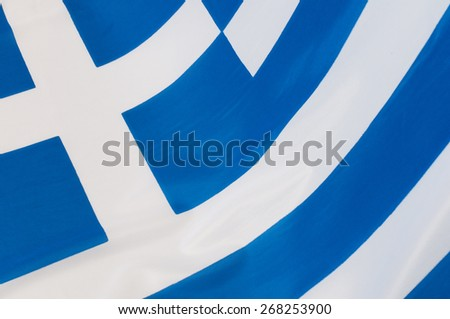Close up of Greek Flag - stock photo