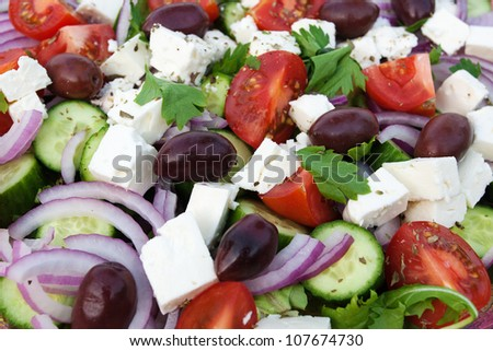 Close up of greek salad - stock photo