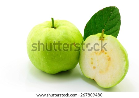 close up of green and fresh Guava on white background - stock photo