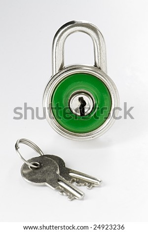 Close-up of green closed padlock